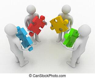 vier, anders, concept, raadsels, personen, teamwork