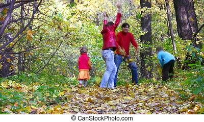 vier, bladeren, hout, werpen, gezin