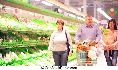 vier, gezin, supermarkt