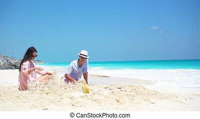 vier, gezin, tropische , zand, vervaardiging, kasteel strand