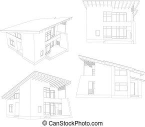 vier, house., frame, hoek