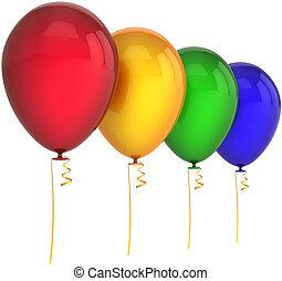 vier, kleuren, jarig, ballons