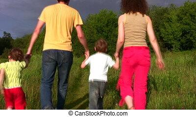 vier, park, gezin