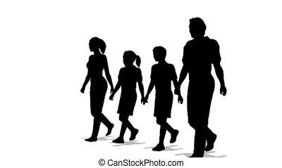 vier, silhouette, gezin, het marcheren