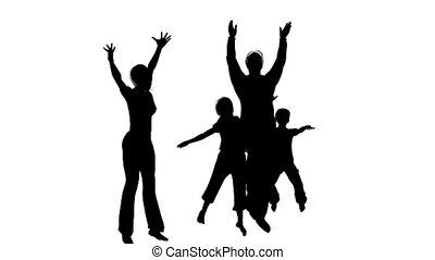 vier, silhouette, gezin, vrolijke