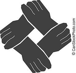 vier, teamwork, handen