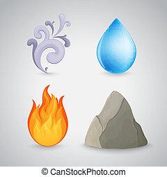 vier, vuur, lucht, -, element, water, aarde