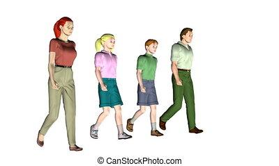 vier, wandelende, gezin