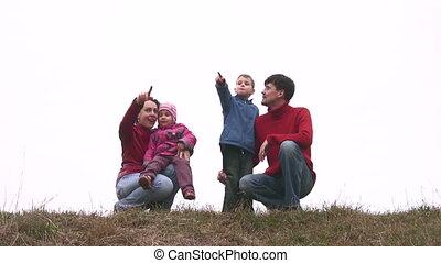 vier, weide, gezin
