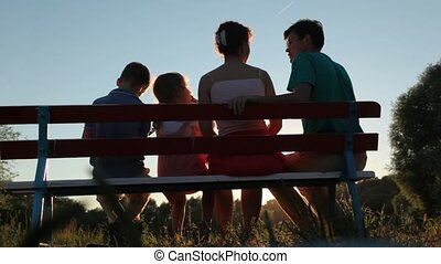vier, zit, park, gezin, bankje