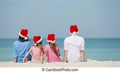 vieren, familie kerstmis, vakantie, strand, vrolijke