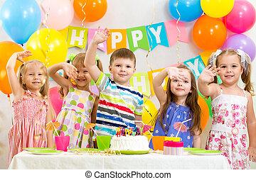 vieren, jarig, vakantie, kinderen, vrolijke