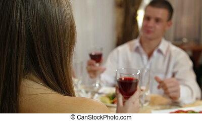 vieren, paar, restaurant