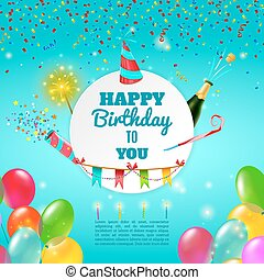 viering, achtergrond, poster, gelukkige verjaardag