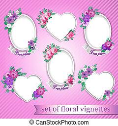 vignettes, bloemen, set