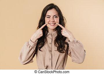 vingers, glimlachende vrouw, schattig, beeld, wangen, vrolijk, wijzende, haar