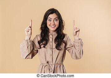 vingers, het glimlachen, omhoog, vrouw, beeld, aantrekkelijk, wijzende, vrolijk