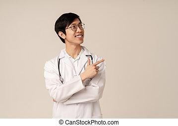 vingers, jonge, beeld, ruimte, lege, wijzende, het glimlachen, arts, aziaat