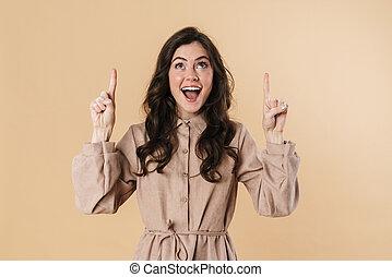 vingers, opgewekte, het glimlachen, omhoog, vrouw, beeld, aantrekkelijk, wijzende