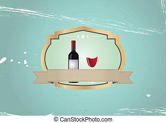 vintage wijn, badge