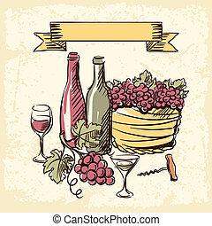 vintage wijn, getrokken, illustration., hand