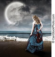 viool, strand