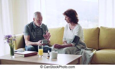 visit., gezondheid bezoeker, thuis, senior, gedurende, vrouw