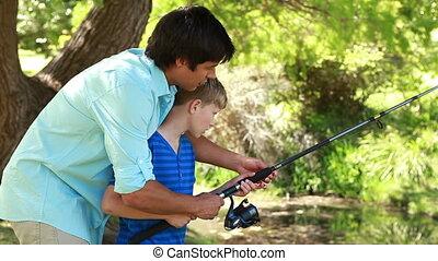 visserij, gebruik, vader, zoon, samen, staaf
