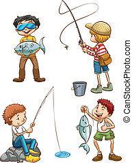 visserij, mannen, schets