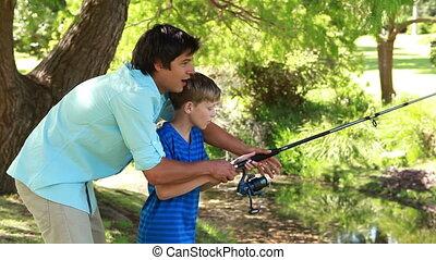 visserij, vrolijke , gebruik, vader, zoon, staaf