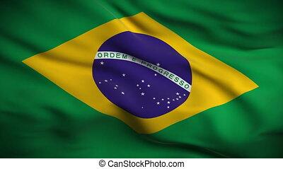 vlag, braziliaans, looped., hd.