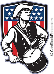 vlag, drummer, amerikaan, patriot