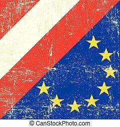 vlag, europeaan, grunge, oostenrijk