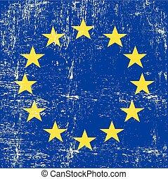 vlag, europeaan, grunge, plein