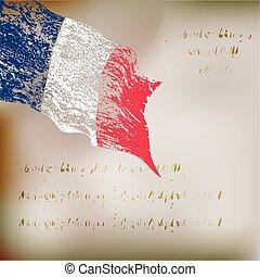 vlag, grunge, achtergrond, frankrijk