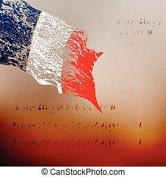 vlag, grunge, frankrijk