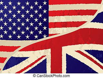 vlag, grunge, usa, brits