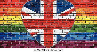 vlag, hart, lgbt, groot-brittannië, muur, baksteen