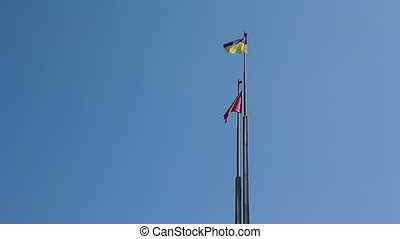 vlag, hemelblauw, tegen, oekraïne
