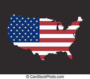 vlag, kaart, vector, usa
