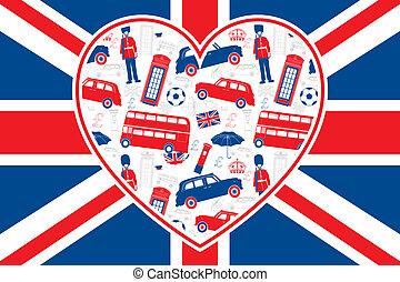 vlag, londen, -, hart, brits, iconen