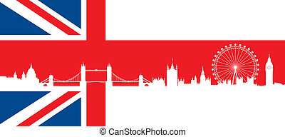 vlag, londen, skyline, brits