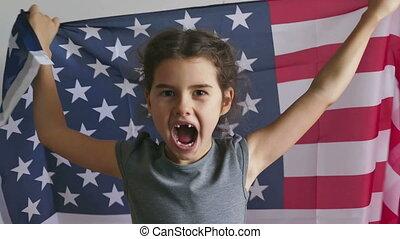 vlag, meisje, usa, amerikaan