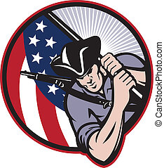 vlag, minuteman, amerikaan, patriot