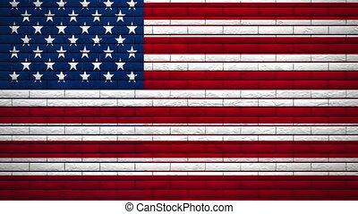 vlag, muur, usa, ontploffing