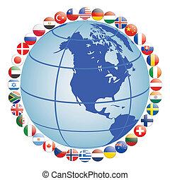 vlag, ongeveer, globe, iconen