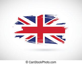 vlag, ontwerp, brits, illustratie, inkt