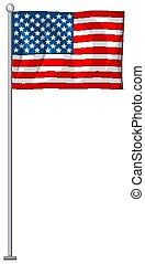 vlag, usa, witte achtergrond