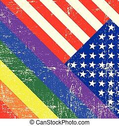 vlag, vrolijk, usa, grunge