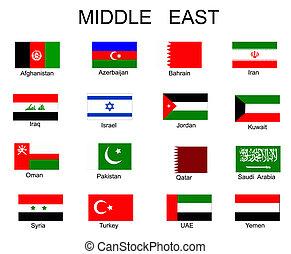 vlaggen, alles, lijst, aziaat, landen
